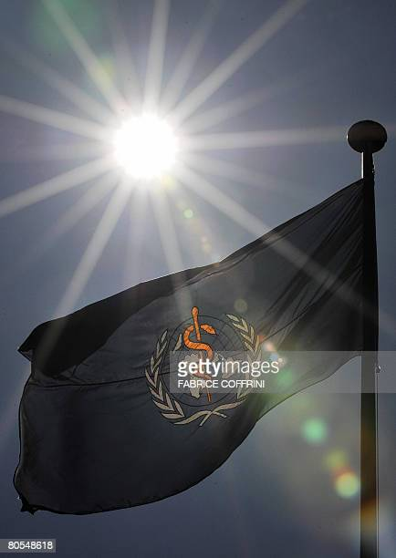A flag bearing the World Health Organization logo is seen under the sun on April 07 2008 at the WHO headquarters in Geneva The WHO that celebrates...