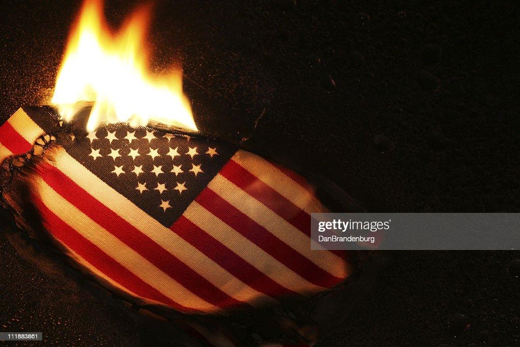 Flag Burning : Stock Photo