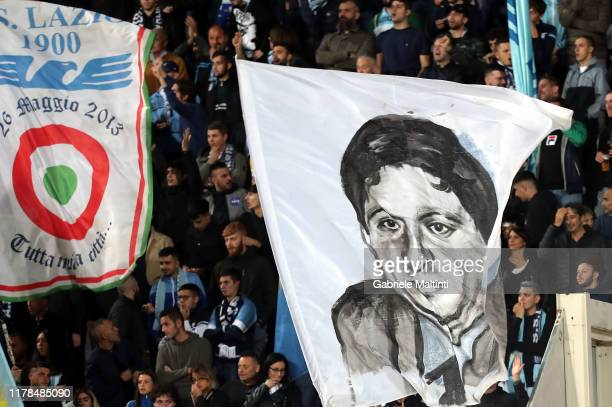A flag depicting the face of Vincenzo Paparelli fan killed in the Rome v Lazio derby on October 28th 1979 during the Serie A match between ACF...
