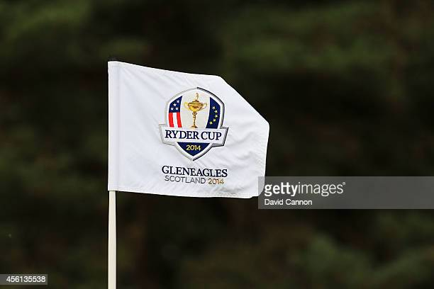 Flag detail during the Morning Fourballs of the 2014 Ryder Cup on the PGA Centenary course at the Gleneagles Hotel on September 26, 2014 in...