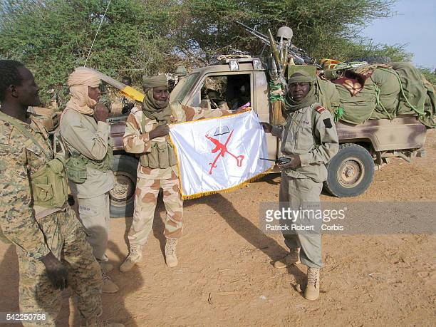 AQMI flag displayed by the soldiers of the Chadian army duringf a joint patrol with a unit of the French Specila Forces