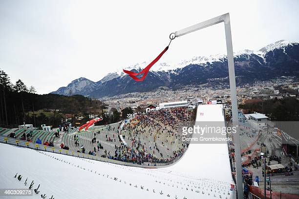 A flag displaying the wind is seen on day 1 of the Four Hills Tournament event at Bergisel on January 3 2014 in Innsbruck Austria Strong winds threat...