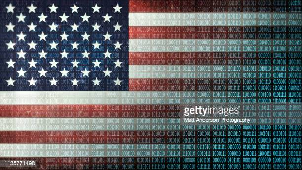 usa flag distressed binary code v2 - data privacy stock pictures, royalty-free photos & images