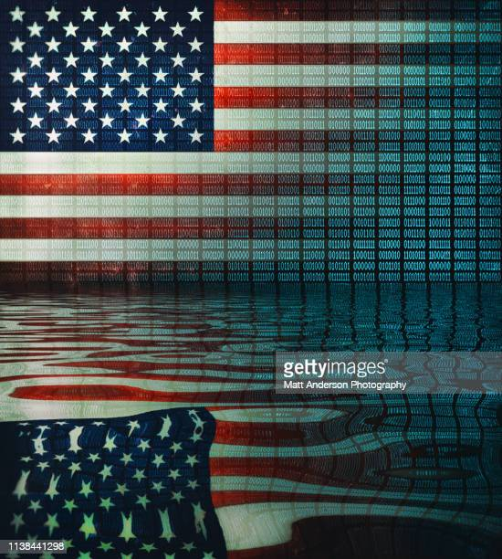 usa flag distressed binary code v3 - central intelligence agency stock pictures, royalty-free photos & images