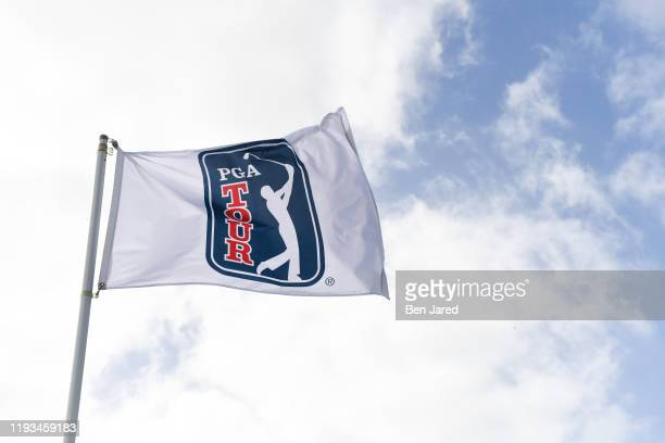 TOUR flag during the first round of the Korn Ferry Tour's The Bahamas Great Exuma Classic at Sandals Emerald Bay golf course on January 12 2020 in...