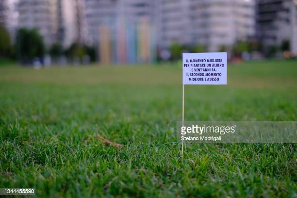 flag ecological message in the lawn with blurred background of the city - vista lateral stock pictures, royalty-free photos & images