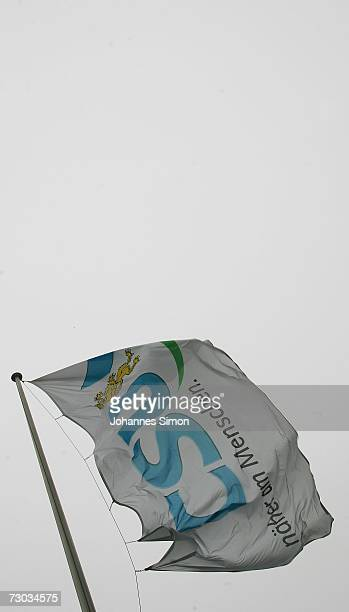A flag featuring the logo of the Christian Social Union Bavaria's conservative Party flies outside of CSUheadquarters January 18 2007 in Munich...