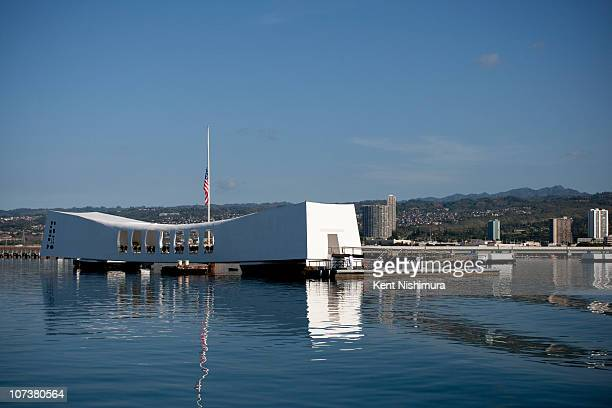 Flag flies at half mast on the USS Arizona Memorial on the 69th anniversary of the attack on the U.S. Naval base at Pearl Harbor on the island of...