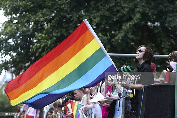 A flag flies during the Gay Pride parade on July 5 2008 in London The parade consists of celebrities floats and performers celebrating the UK's...