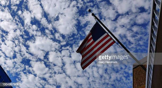 USA flag flies on a building on July 21 2018 in Hoboken New Jersey