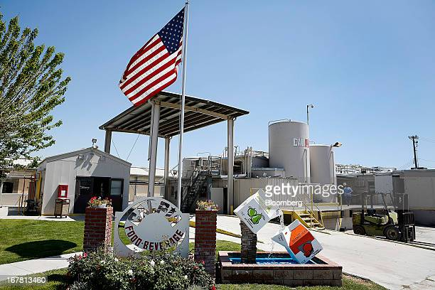 A US flag flies outside of the fruit juice boxing plant one of the inmate jobs available as part of the California Prison Industry Authority at the...