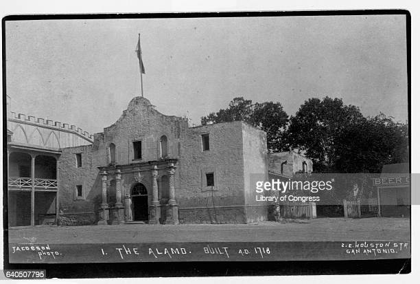 A flag flies over the Alamo a Spanish Franciscan mission and Texan fort