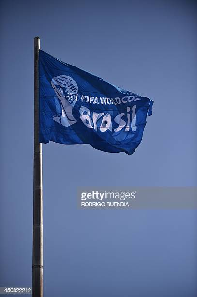 A FIFA flag flutters at the Bera Rio stadium during the match between Netherlands and Australia of the 2014 FIFA Football World Cup in Porto Alegre...