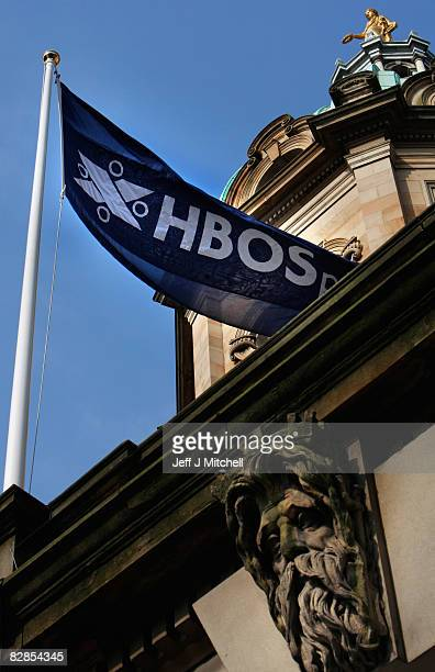 HBOS flag flutters in the wind at the headquarters on the mound in Edinburgh on September 17 2008 in Edinburgh Scotland The bank is in advanced...
