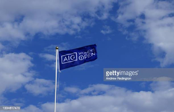 Flag flutters in the wind during the Pro-Am prior to the AIG Women's Open at Carnoustie Golf Links on August 18, 2021 in Carnoustie, Scotland.
