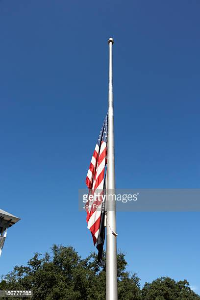 us flag flying at half mast, florida, usa - half mast stock photos and pictures