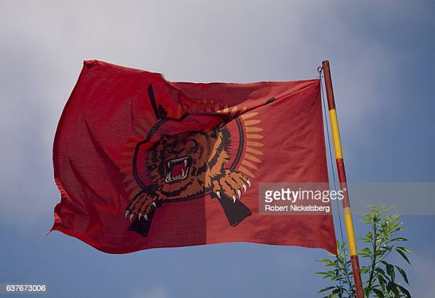 A flag for the Liberation Tigers of Tamil Eelam or LTTE flies from a post January 1 1992 in Point Pedro Sri Lanka The militant separatist LTTE formed...