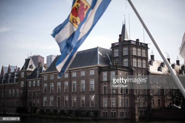 Flag from Zeeland province flies near the Dutch parliament building on March 14, 2017 in The Hague, Netherlands. Campaigning is continuing by all...