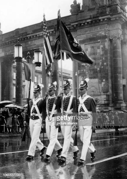 A flag group of the US Army in American uniforms of the 19th century marching during a parade on occasion of the 'Armed Forces Day' on 18th May 1968...