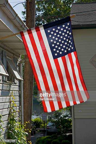 Flag hanging from building