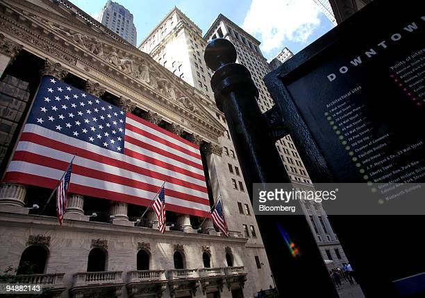 S flag hangs on the facade of the New York Stock Exchange in New York US on Monday June 9 2008 Most US stocks fell led by banks and technology...