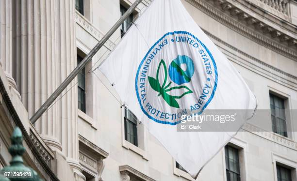 A flag hangs over an entrance to the Environmental Protection Agency in Washington on April 22 2017