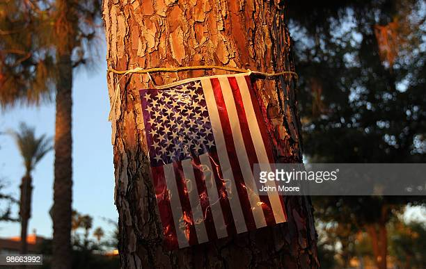 A flag hangs tied to a tree outside the state capitol building on April 25 2010 in Phoenix Arizona More than 1000 gathered to protest the passage of...