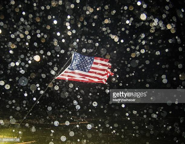 US flag is bent by the wind as the eye of Hurricane Hermine passes overhead in the early morning hours on September 2 2016 in Shell Point Beach...