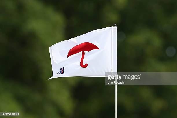 A flag is displayed during the first round of the Travelers Championship at TPC River Highlands on June 25 2015 in Cromwell Connecticut