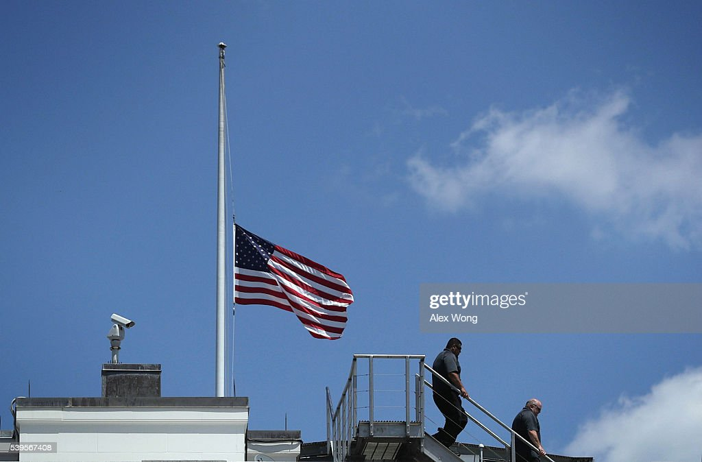 S. flag is flown at half staff at the White House after the Orlando mass shooting June 12, 2016 in Washington, DC. At least 50 people were killed and 53 were injured after a gunman opened fire in a gay nightclub in Orlando, Florida.