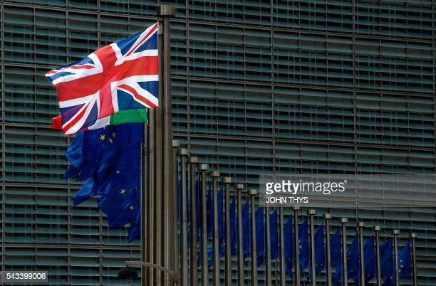 UK flag is pictured at the EU headquarters in Brussels on June 28 2016 / AFP PHOTO / JOHN THYS