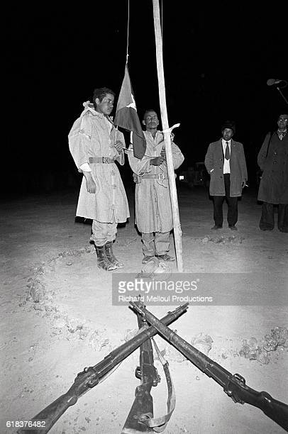 A flag is raised during a press conference in Algiers to announce the formation of the Sahrawi Arab Democratic Republic In February of 1976 the SADR...