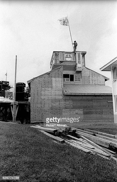 A flag is raised to show where the media will stay during the Alternative Media Conference at Goddard College in June 1720 1970 in Plainfield Vermont