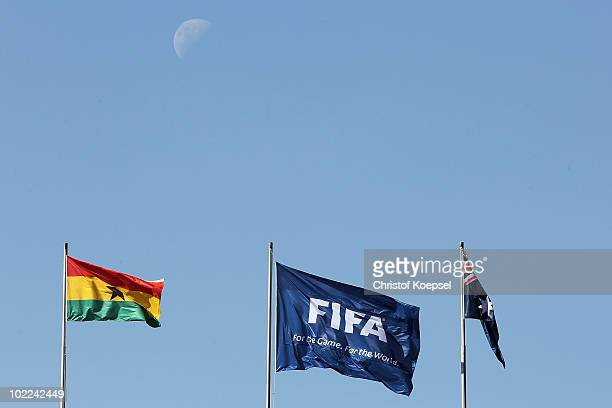 FIFA flag is seen before the 2010 FIFA World Cup South Africa Group D match between Ghana and Australia at the Royal Bafokeng Stadium on June 19 2010...