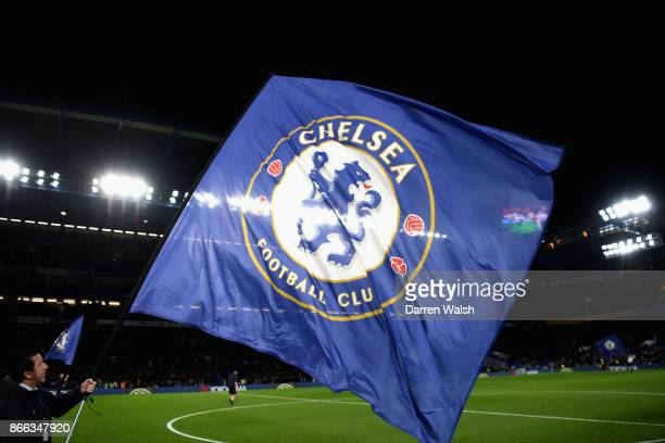 A flag is seen during the Carabao Cup Fourth Round match between Chelsea and Everton at Stamford Bridge on October 25 2017 in London England
