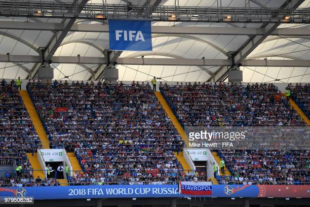 FIFA flag is seen inside the stadium as fans look on during the 2018 FIFA World Cup Russia group A match between Uruguay and Saudi Arabia at Rostov...
