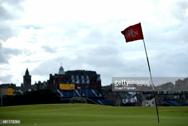 A flag is seen on the 16th hole during the second round of the 144th Open Championship at The Old Course on July 18 2015 in St Andrews Scotland