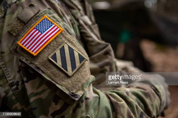 US flag is seen on the shoulder of a soldier during the Allied Spirit X international military exercises at the US 7th Army training center on April...