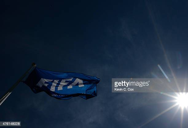 FIFA flag is seen prior to the FIFA Women's World Cup Canada 2015 Group A match between Canada and China PR at Commonwealth Stadium on June 6 2015 in...