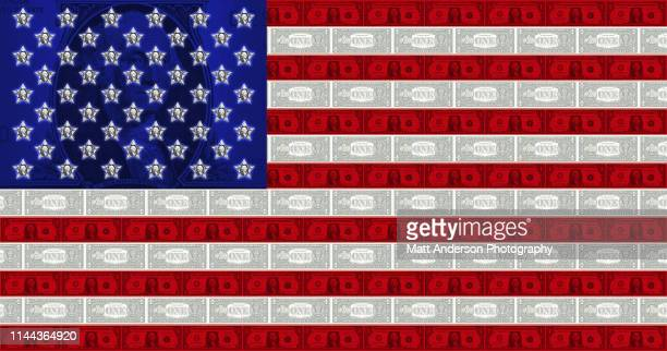 usa flag made out of one dollar bills - money politics stock pictures, royalty-free photos & images