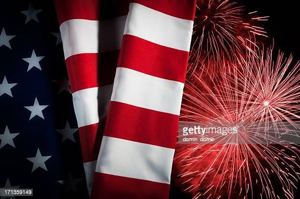 USA flag, New Year, Independence Day, celebration, patriotism, fireworks