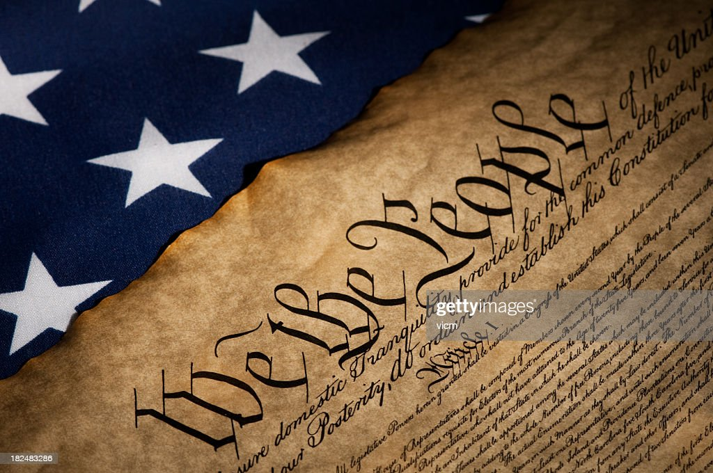 USA flag next to the Bill of Rights : Stock Photo