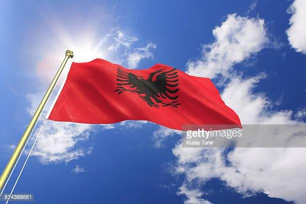 flag of albania - bandiera albanese foto e immagini stock