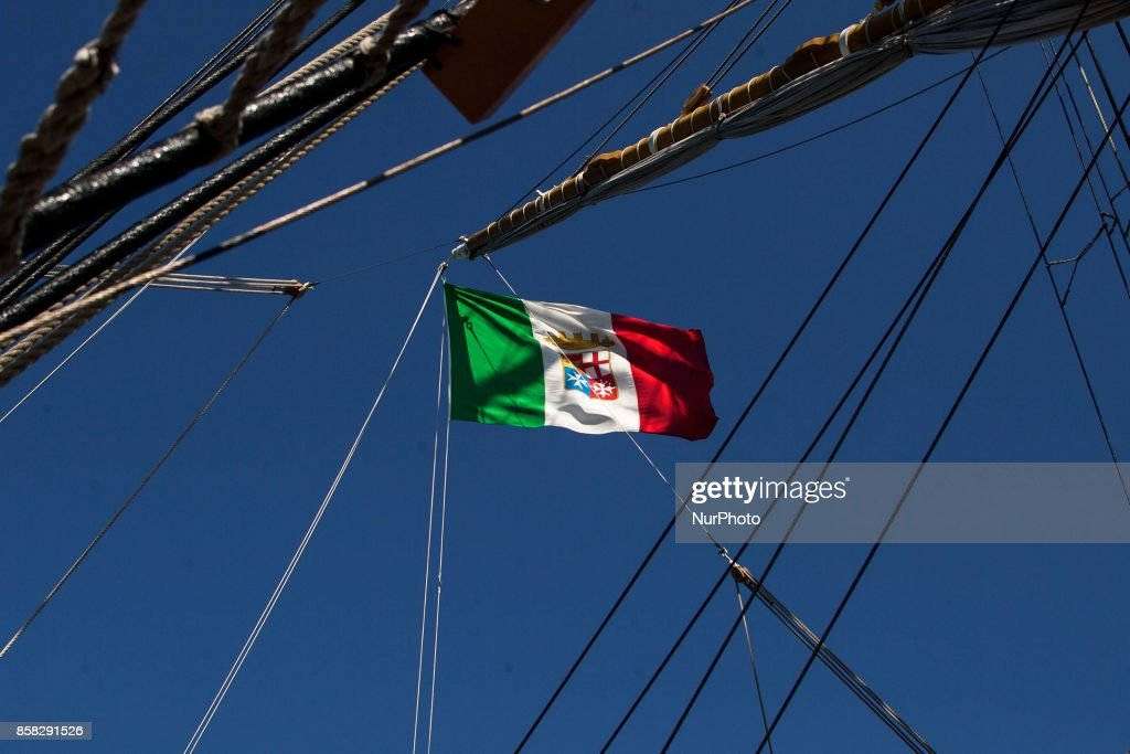 Flag of Amerigo Vespucci sailboat in Naples, Italy, October on 06, 2017.