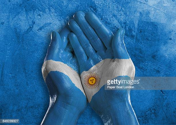 flag of argentina painted on two hands together - argentinas flagga bildbanksfoton och bilder