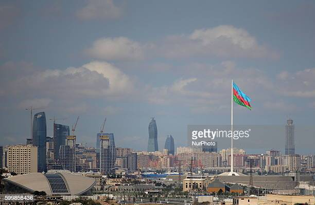 Flag of Azerbaijan on the State Flag Square with views of the panorama of the city Baku Azerbaijan Tuesday September 6 2016