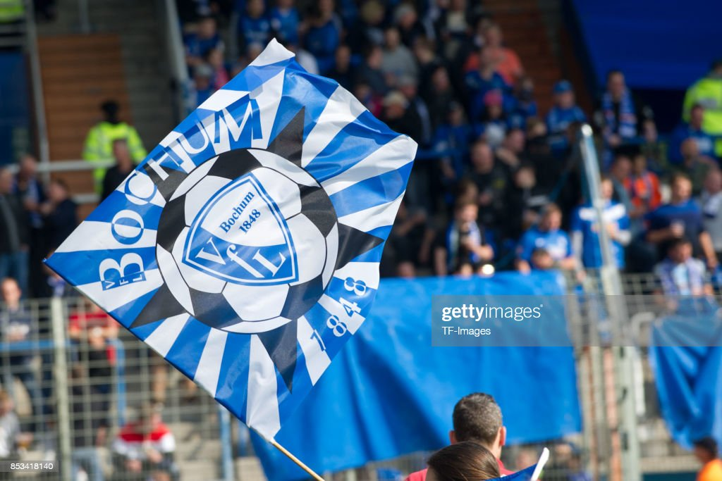 Flag of Bochum are seen during the Second Bundesliga match between VfL Bochum 1848 and FC Ingolstadt 04 at Vonovia Ruhrstadion on September 24, 2017 in Bochum, Germany.