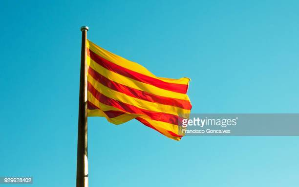 Flag of Catalonia waving in a sunny day