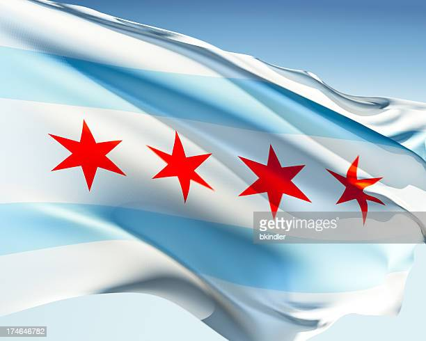 flag of chicago - chicago illinois stock pictures, royalty-free photos & images