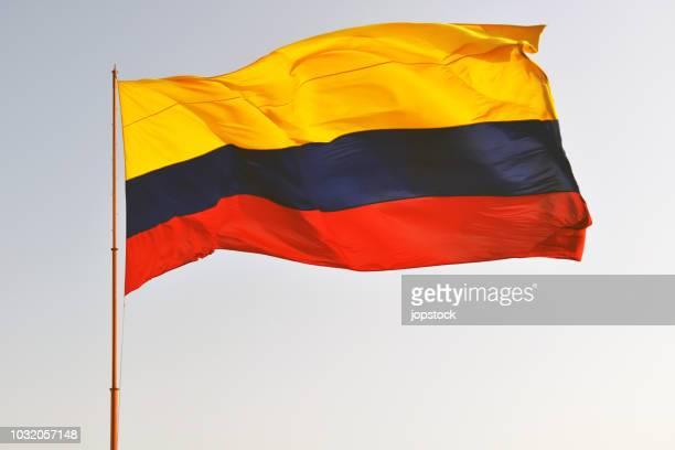 flag of colombia waving outdoors - bandera colombiana fotografías e imágenes de stock